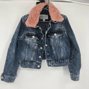 Gymboree Fur Collar Denim Jacket Girls Small 5-6